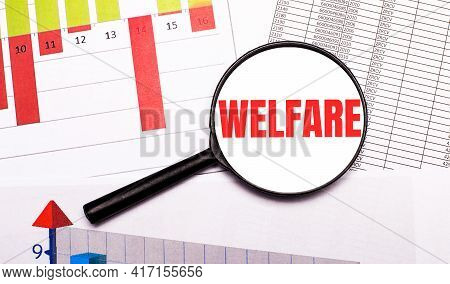 On The Desktop, Graphs, Reports, A Magnifying Glass With The Inscription Welfare. Business Concept