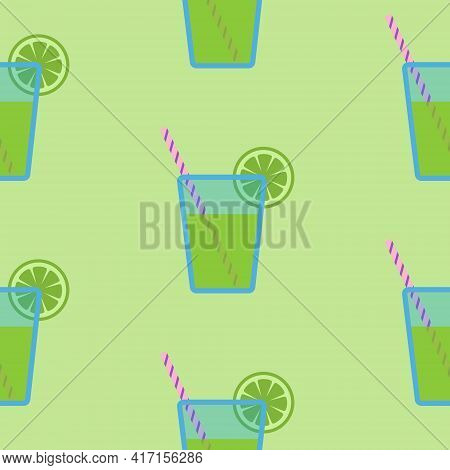 Big Mojito Cocktail Or Green Juice In Blue Glass With Striped Straw And Slice Of Lime, Seamless Patt