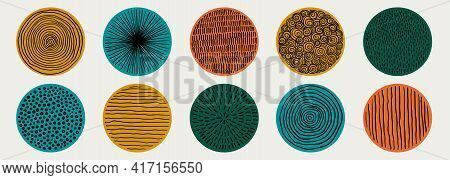 Set Of Doodle Creative Minimalist Abstract Art Circle Shape And Hand Drawn Doodle Scribble Circle. D