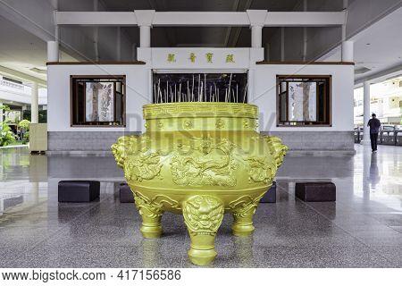 Visit The Biggest Temple In Batam Island, Indonesia - Nov 29, 2018,  The Golden Incense Pot The Maha