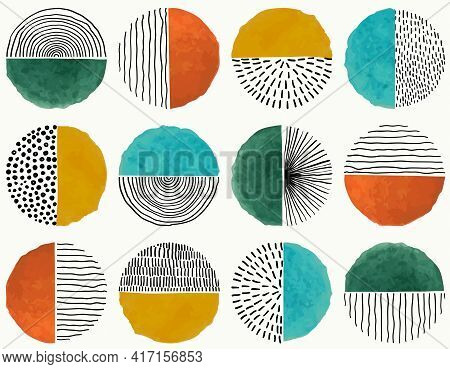 Seamless Pattern Of Doodle Creative Minimalist Abstract Art Circle Shape And Hand Drawn Doodle Scrib