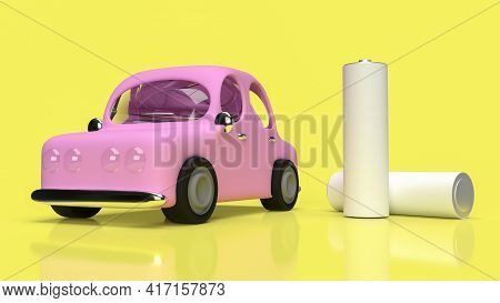 Alkaline Battery And Car  For Ev Car Technology Concept 3d Rendering