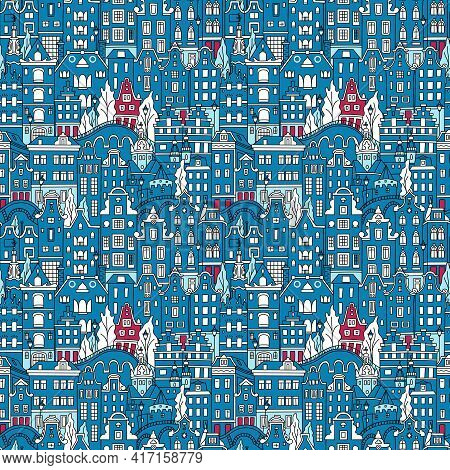 Seamless Pattern With Amsterdam Canal And Typical Dutch Houses, Holland, Netherlands.