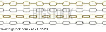 Seamless Curb Chains Isolated On White Background 3d Illustration