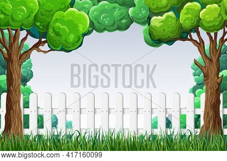 Garden Or Park Background. Banner With Trees, White Wooden Fence, Grass And Blue Sky. Summer Sunny D