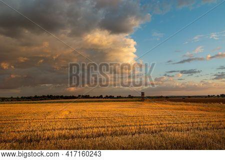 Evening Dark Clouds Over A Stubble Field