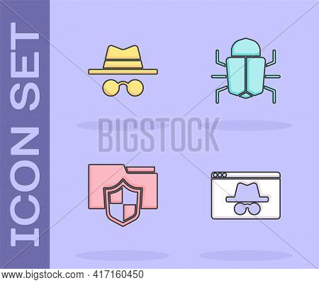Set Browser Incognito Window, Incognito Mode, Document Folder Protection And System Bug Icon. Vector