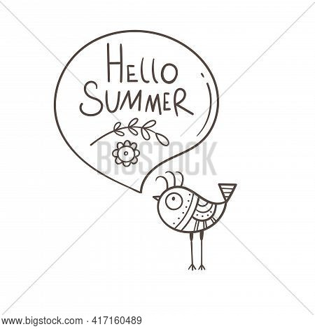 Greeting Card With Cute Cartoon Bird. Hello Summer. Vector Seasonal Print. Funny Doodle Animal Poste