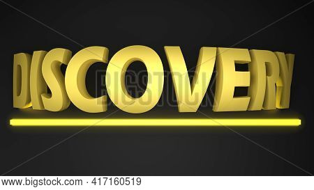 Discovery Yellow Write On Black Background With Yellow  Lighted Bar - 3d Rendering Illustration
