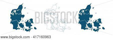 Blue Map Of Denmark, Blue Gradient Denmark Map. Detailed, Mercator Projection, Denmark Map
