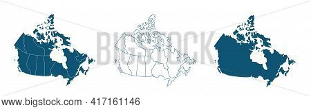 Simple Map Of Canada Vector Drawing. Mercator Projection. Filled And Outline.