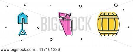 Set Shovel, Revolver Gun In Holster And Gun Powder Barrel Icon. Vector