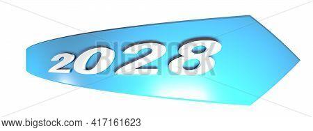 2028 Blue Arrow On White Background - 3d Rendering Illustration