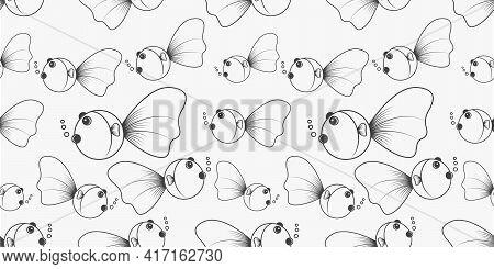Goldfish Pattern Background. Graphic Design Vector Illustration.