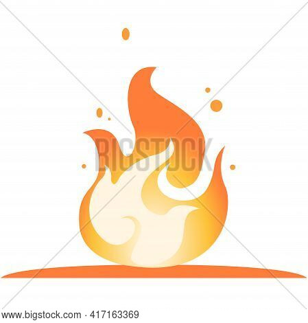 Burning Bonfire With Lights And Sparks. Yellow Fire Flat Vector Clipart Illustration. Hot Red-orange