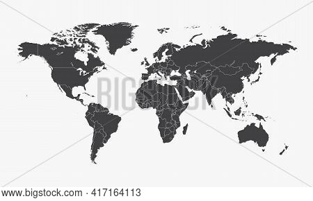 Flat Map. World Geography Map. Design Graphic Vector Illustration.