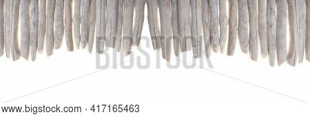 Driftwood Banner. Row Of Sea Snags Set Isolated On White Background.marine Nature Background. Marine