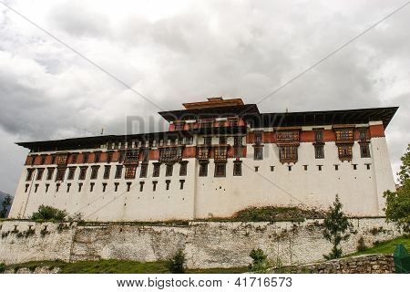 Monks debating at Rinpung Dzong in Paro, Bhutan.