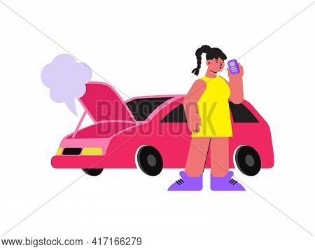 Woman With Car Breakdown Making Phone Call Flat Vector Illustration