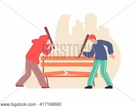 Two Vandals Damaging Bench With Bats Flat Composition Vector Illustration