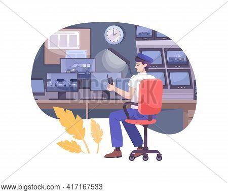 Car Park Attendant Watching Cctv Footage Flat Composition Vector Illustration