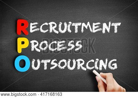 Rpo - Recruitment Process Outsourcing Acronym, Business Concept On Blackboard