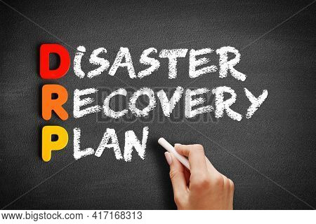 Drp - Disaster Recovery Plan Acronym, Business Concept On Blackboard