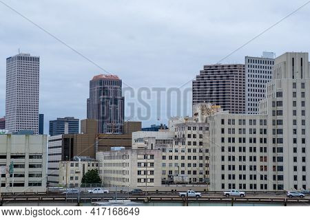 New Orleans, La - March 19: Skyline Of Downtown Showing The Old Va Medical Center Building And Traff