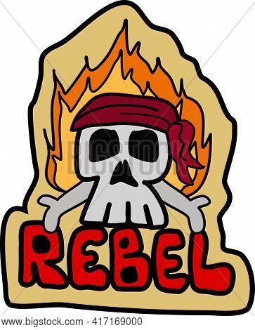 Rebel Skull Head With Flames And Head Scarf
