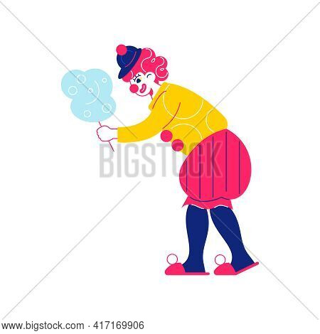 Circus Funfair Composition With Human Character Of Clown Holding Cotton Candy Vector Illustration