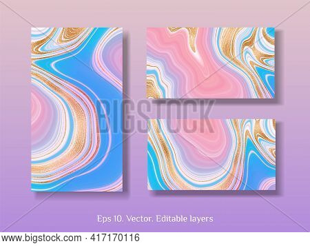 Pink Marble With Gold. Gold Marble Invitation Vectors. Vector Business Card Template With Abstract M