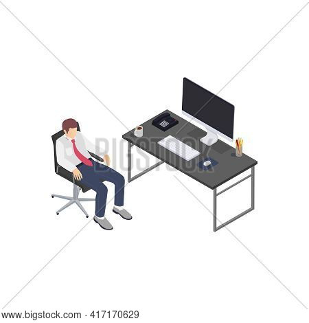 Professional Burnout Depression Frustration Isometric Composition With Business Worker Laid Back Vec