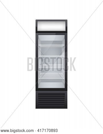 Commercial Glass Door Drink Fridge Realistic Composition With Isolated Image Of Single Door Fridge V