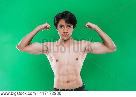 Portrait Strong Athletic Man Showing Muscular Body Over