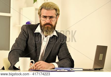 Raising Standards. Office Staff Concept. Business Solutions. Risky Business. Man Bearded Boss Sit Wi