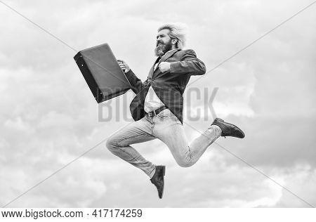 Happy Worker. Feeling Free. Business Man Formal Suit Carries Briefcase. Illegal Deal Business. Find