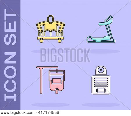 Set Intercom, Man Without Legs Sitting Wheelchair, Iv Bag And Treadmill Machine Icon. Vector