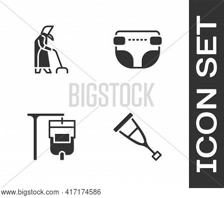 Set Crutch Or Crutches, Grandmother, Iv Bag And Adult Diaper Icon. Vector