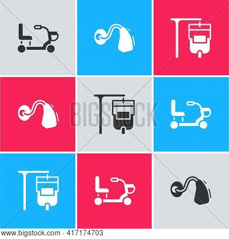 Set Electric Wheelchair, Hearing Aid And Iv Bag Icon. Vector