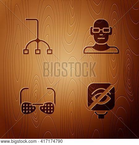 Set Blindness, Walking Stick Cane, Glasses And Poor Eyesight On Wooden Background. Vector