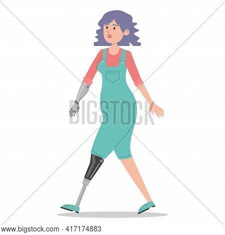 Happy Young Woman With The Prosthetic Limbs