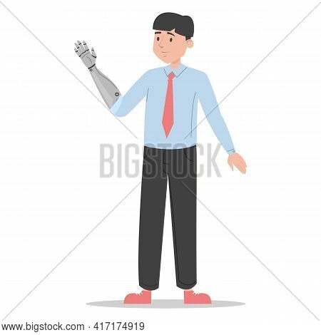 Man With Prosthetic Arm Vector Isolated. Bionic Limb