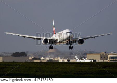 Luqa, Malta - November 26, 2016: Emirates Passenger Plane At Airport. Schedule Flight Travel. Aviati