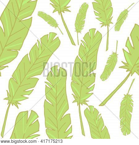 Seamless Background With Feathers. Back Background. The Pattern Is Seamless. Vector Illustration. Ha