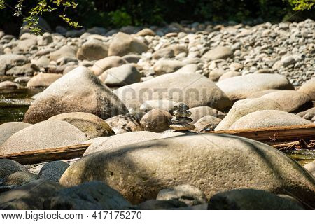 Small Stone Tower On Dried Waterway Of Montailn River