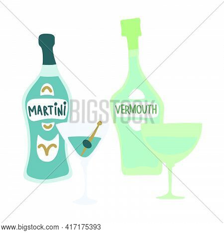Martini And Vermouth Bottle And Wineglass On White Background. Cartoon Sketch Graphic Design. Doodle