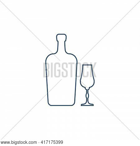 Liquor Bottle And Glassware. Alcoholic Drink For Parties And Celebrations. Simple Black Line Shapes
