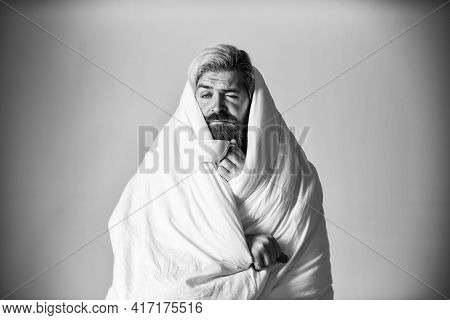 Disrupt Our Rhythms And Contribute To Health Problems. Fall Asleep On Go. Man With Blanket Or Duvet
