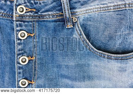 Pocket Of Jeans, Clasp Jeans For Metal Buttons, Close Up Of Details Of Jeans Trousers With Orange St