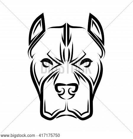 Black And White Line Art Of Pitbull Dog Head. Good Use For Symbol, Mascot, Icon, Avatar, Tattoo, T S